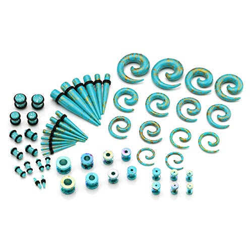 BOPREINA 56 Pieces 12G-00G Acrylic Tapers + Screw Tunnels + Plugs with O-Ring + Spiral Tapers Gauge Kit Ear Stretching Starter Set ()