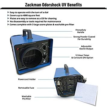 Zackman Odor Shock UV with Air Duct Holder Ozone Generator Professional O3 Air Purifier, Air Cleaner, Deodorizer and Sterilizer Kills Mold and Permanently Remove Tobacco, Pets, Musty Odors