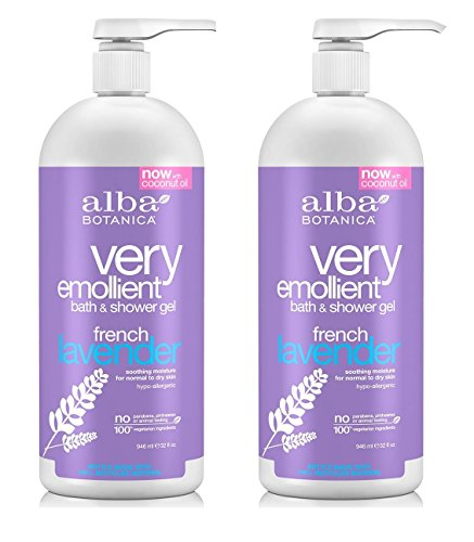 Alba Botanica Very Emollient French Lavender Bath Shower Gel 946 ml 32 oz Set of 2