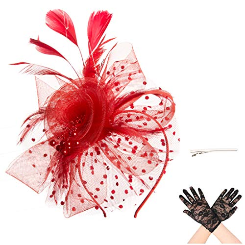(SAFERIN Fascinator Hat Feather Mesh Net Veil Party Hat Flower Derby Hat with Clip and Hairband for Women with Lace Glove (TA7-Red with Glove))