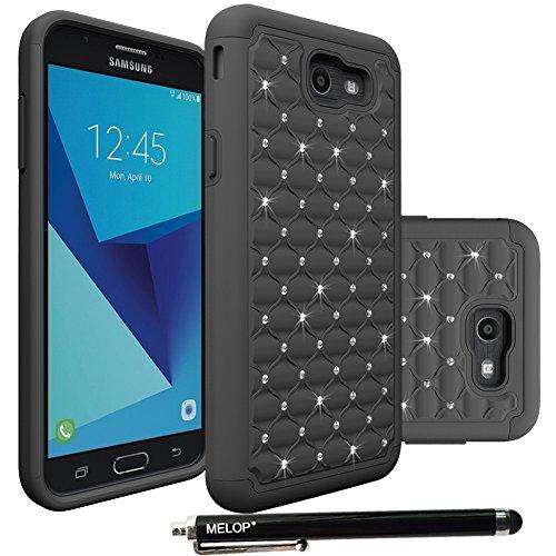 Galaxy J7 2017 Case, Galaxy J7 V / J7 Prime / J7 Perx Case / J7 Sky Pro / Galaxy Halo Case, MELOP Dual Layer Crystal Rhinestone Bling Diamond Fashion Case for Samsung Galaxy J7 (2017) - Black