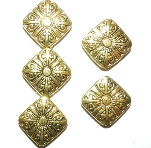 Gold Swirl Diamond Design - MB520 Antiqued Gold 17mm Sun Swirl Design Flat Square Diamond Metal Beads 10pc Crafting Key Chain Bracelet Necklace Jewelry Accessories Pendants