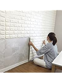 High Quality 10PCS 3D Brick Wall Stickers, PE Foam Self Adhesive Wallpaper Removable And  Waterproof Art Amazing Design