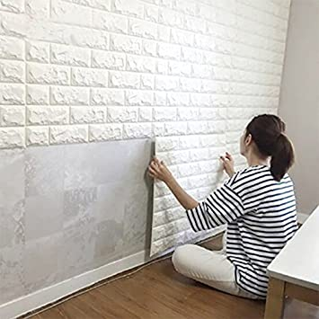 10PCS 3D Brick Wall Stickers, PE Foam Self Adhesive Wallpaper Removable And  Waterproof Art
