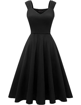 3e38709c35394c DRESSTELLS Women's Bridesmaid Vintage Tea Dress V-Neck Prom Party Swing Cocktail  Dress Black XS