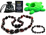 Baltic Amber Teething Necklace Gift Set + FREE Silicone Teething Pendant ($15 Value) Handcrafted, 100% USA Lab-Tested Authentic Amber - Natural Teething Pain Relief (H-honey) (H-honey)