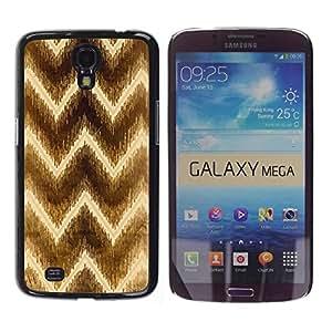 Be Good Phone Accessory // Dura Cáscara cubierta Protectora Caso Carcasa Funda de Protección para Samsung Galaxy Mega 6.3 I9200 SGH-i527 // Chevron Brown Pattern Yellow