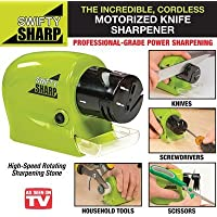 JEEJEX Swifty Sharp Cordless Motorized Knife Sharpener for Knife, Scissor and Screw-Driver (Multicolour)