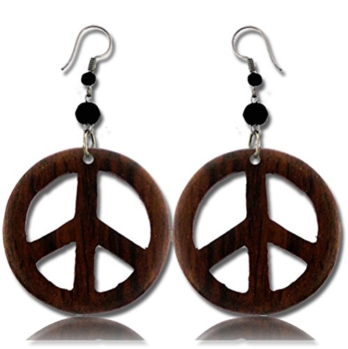 Earth Accessories Peace Sign Dangle Earrings with Organic Wood