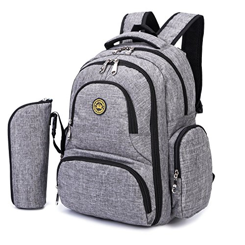 HARFING Waterproof Insulated Diaper Bag Backpack with Changing Pad & Stroller Straps, Large Capacity, Lightweight Travel Baby Gear Nappy Organizer for Mom & Dad,Grey