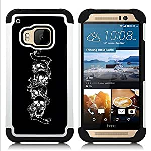 - skull black white snake death metal rock - - Doble capa caja de la armadura Defender FOR HTC ONE M9 RetroCandy
