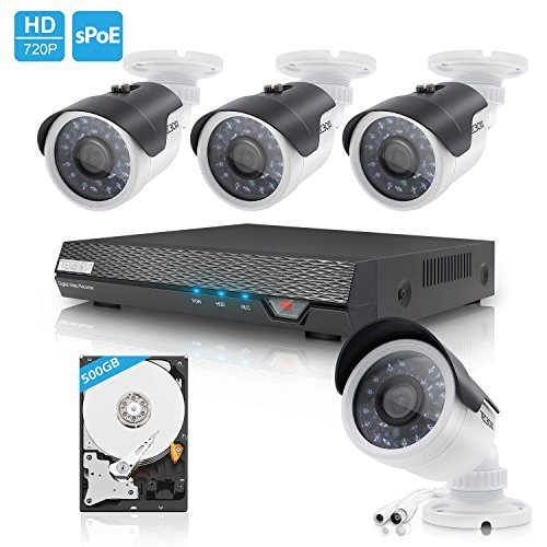 TECBOX AHD DVR 4 Channel CCTV Security Camera System with 4 HD 720P Outdoor Indoor Cameras Remote View Motion Detection 500GB Hard Drive Installed by ZENO-TECBOX