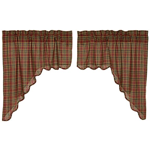 VHC Brands Rustic & Lodge Kitchen Window Curtains - Graham Red Scalloped Swag Pair