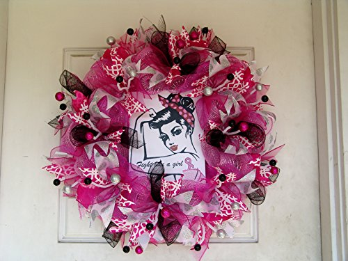 Fight Like a Girl, Breast Cancer Gifts, Front Door Wreaths, Deco Mesh Wreaths, Breast Cancer Awareness, Rosie the Riveter, Sympathy Gift