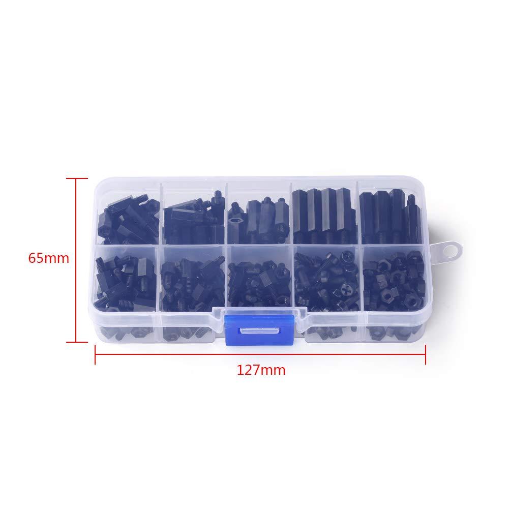 Amazon.com  iFlight 220pcs M3 Nylon Black Hex Screw Nut Circuit Spacer PCB  Board Pillars Standoff Assorted Kit with Detachable Plastic Box for RC  Model ... 6f86400e086f
