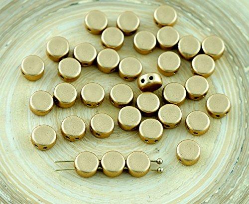 60pcs Matte Bronze Pale Gold 2 Two Hole Weaving Czech Glass Round Flat Coin Beads Tablet Shape 6mm