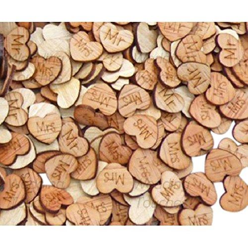 TOOGOO 200Pcs Wedding Table Confetti Favour Wooden Love Hearts Mr Mrs Bride Groom Shabby Chic -