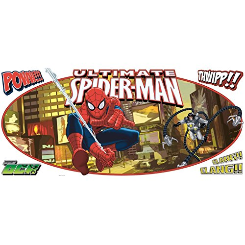 RoomMates RMK1797GM Ultimate Spiderman Headboard Peel and Stick Giant Wall Decal (Appliques Man Wall Spider)