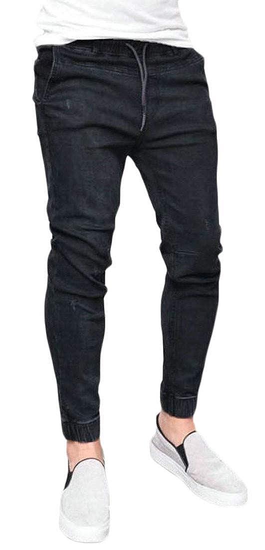 Cromoncent Mens Slim Fit Washed Elastic Waist Jeans Long Jogger Denim Pants