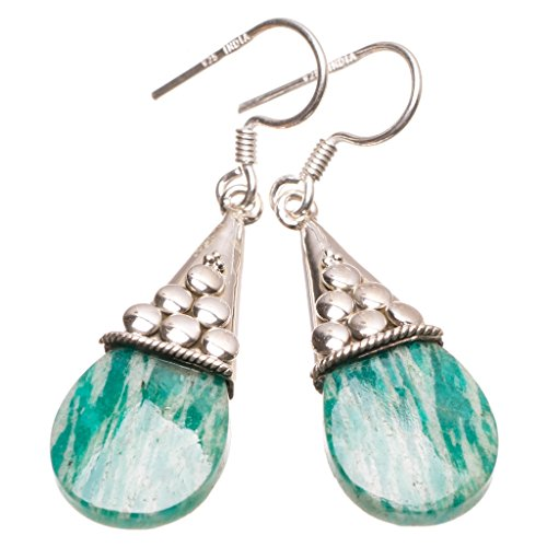 StarGems(tm) Natural Blue Aquamarine Handmade Indian Earrings 1 3/4