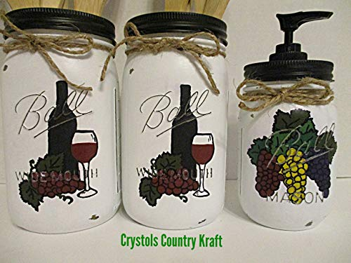 3 piece Vineyard grape kitchen utensil holders and soap jar(WOOD UTENSILS NOT INCLUDED)
