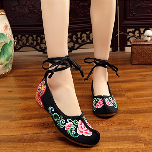 AvaCostume Womens Embroidery Nose Toe Strappy Dancing Dress Shoes Black lzjir