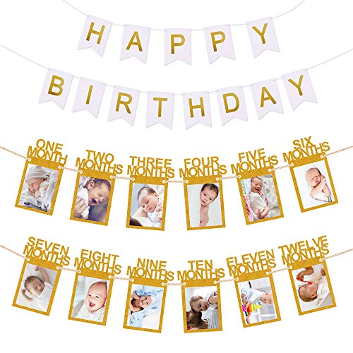 Hurriman 1st Birthday Photo Banner, Milestone Keepsake Bunting Garland Monthly Photo Banner for Baby 12 Month First Birthday Party Decoration (Gold)