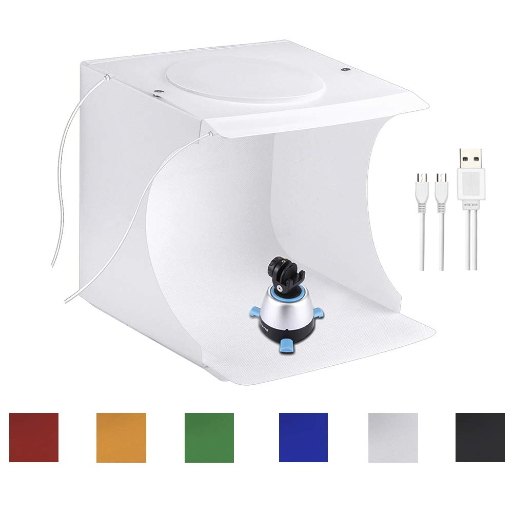 Portable Photo Studio Box for Jewellery and Small Items Portable Folding Photography Studio Box Booth Shooting Tent Kit(2x20 LED Lights 6 Colors Backdrops) by SLOW DOLPHIN