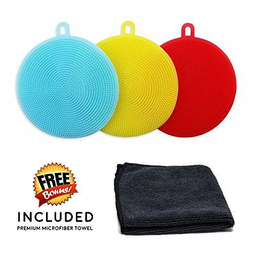Micro Trolley - Silicone Dish Sponge Scrubber Sparkle 3-Pack Wash Sponges Cleaning Brush Kitchen Set with FREE BONUS Microfiber Towel, Antibacterial Multipurpose Easy Clean