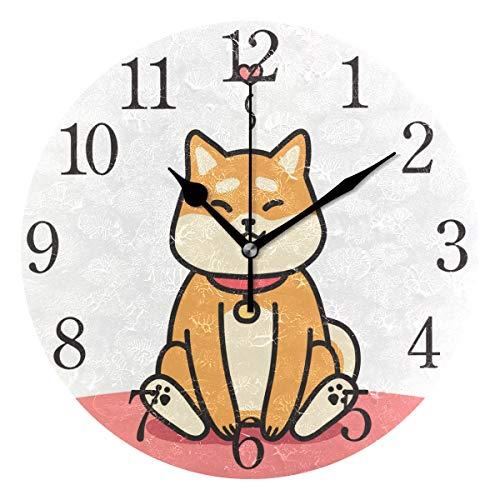 - Wall Clock Arabic Numerals Design Cute Shiba Inu Dog Round Wall Clock for Living Room Bathroom Home Decorative
