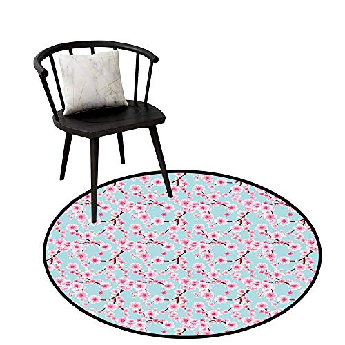 (Distressed Style Circular Rug Cherry Blossom Pale Blue Redwood Pink Circular Carpet Bedroom A Living Room Desk Seat Cushion Carpet 32