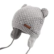 Joyingtwo Soft Warm Knit Wool Cute Bear Baby/Infant/Toddler Beanie Hat with Earflap for Winter/Autumn, Grey S