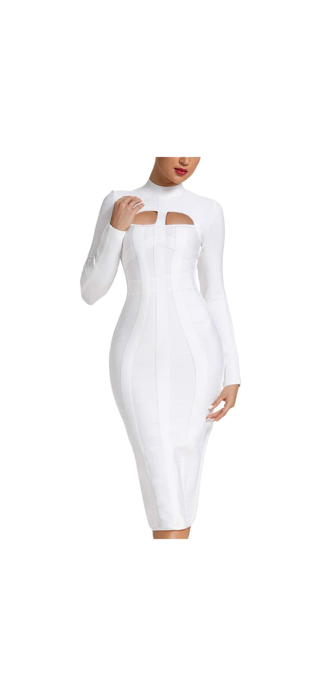 Women's Sexy Cut Out Long Sleeves Midi Bodycon Party