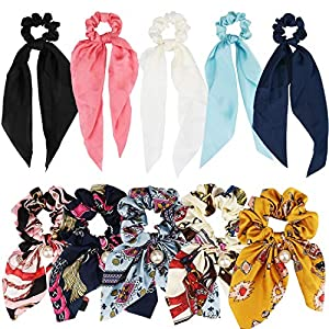 ANBALA Satin Ribbon Hair Scrunchies,10Pcs Bow Scarf Scrunchies, Thin Cold Scrunchies with Tail, Hair Ties Accessories for Girls Women Long Scrunchies Hair Scarves (5 Floral + 5 Solid Color Scrunchies)