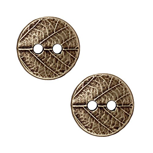 TierraCast Brass Oxide Finish Pewter Round Leaf Print Button 17mm (17mm Round Beads)