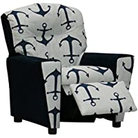 Kidz World Anchors Navy Kids Recliner With Cup Holder, Navy Suede