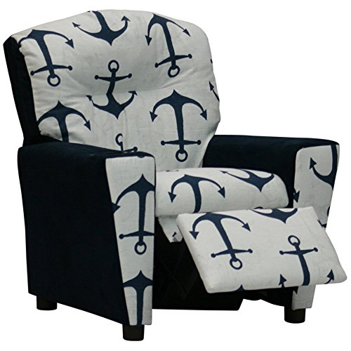 Kidz World Anchors Navy Kid's Recliner with Cup Holder, Navy Suede by Kidz World