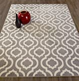 Diagona Designs Contemporary Moroccan Trellis Design 8 by 10 Area Rug, 94'' L X 114'' W, Grey/Ivory