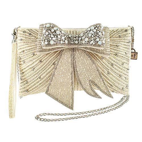 Frances Tie Mary - Mary Frances Cherish, Embellished 3-D Bow Crossbody Bridal Clutch