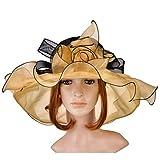 Women's Organza Hat Kentucky Derby Church Dress Bridal Tea Party Wedding Hat Sun Hat Cap(Yellow)