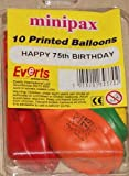 Pack of 10 ~Age 75~ Latex Balloons.