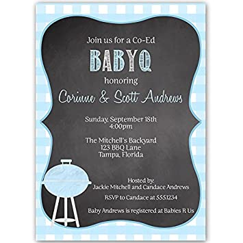baby q shower invitations barbecue sprinkle boy chalkboard blue