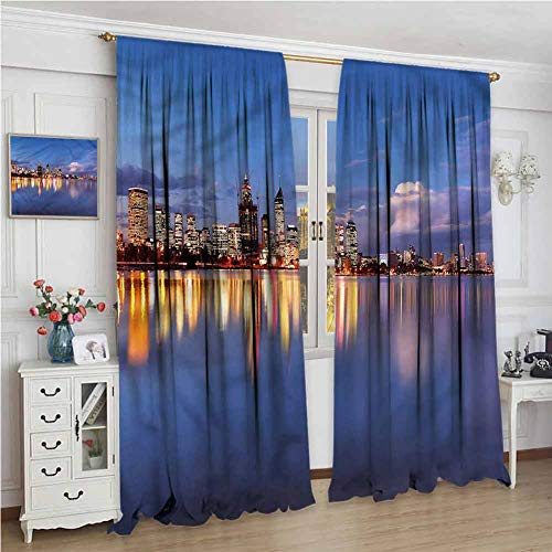 NUOMANAN Blackout Curtains,Modern Western Australia at Night,for Room Darkening Panels for Living Room, Bedroom,60 x 84 inch (White Bedroom Australia Wicker Furniture)