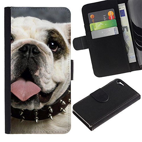 OMEGA Case / Apple Iphone 5 / 5S / English British bulldog symbol dog / Cuir PU Portefeuille Coverture Shell Armure Coque Coq Cas Etui Housse Case Cover Wallet Credit Card