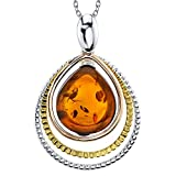 """Metal Masters Co. Tri-color Sterling Silver 925 Pear Shape Baltic Amber Pendant Necklace Free 18"""" Rolo Chain"""