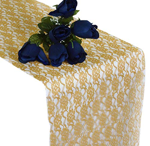 mds Pack of 20 Wedding 12 x 108 inch Lace Table Runner for Wedding Banquet Decor Table Lace Runner- Gold -