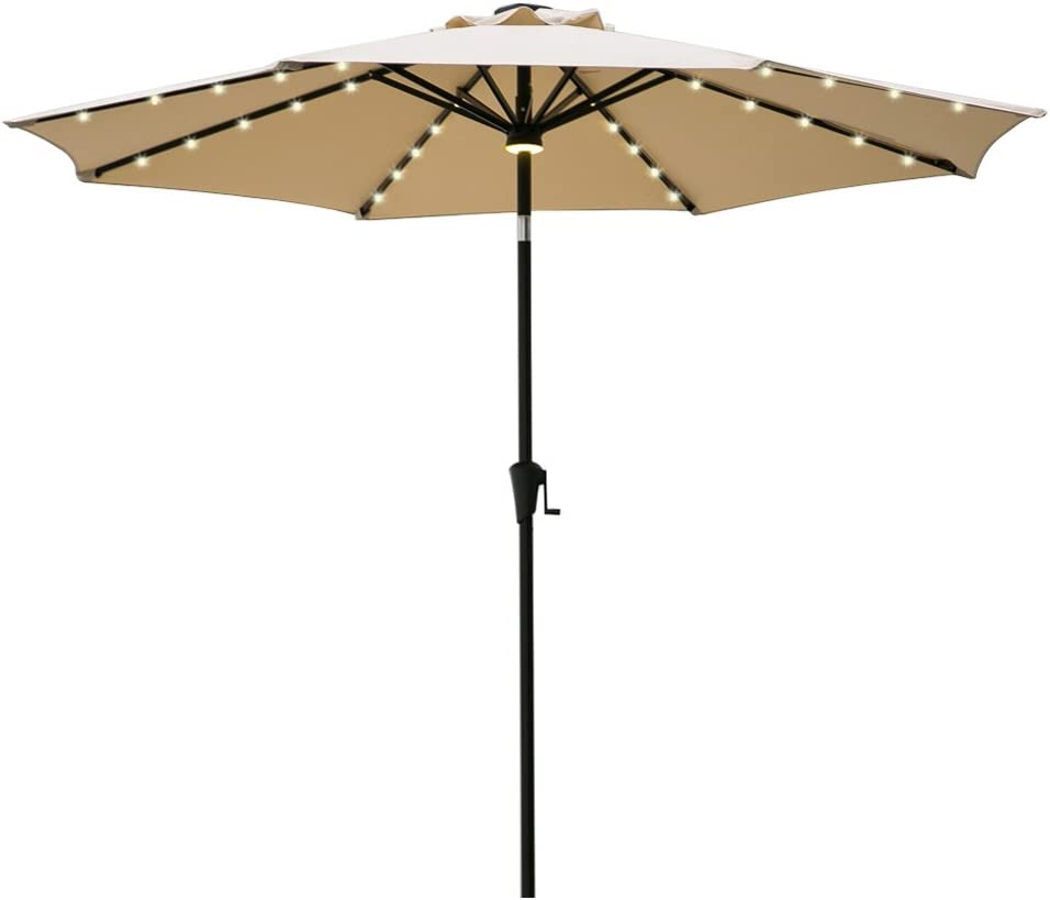 FLAME SHADE 9 LED Light Patio Umbrella Outdoor Market Style with Solar Lights and Tilt for Outside Balcony Table or Deck, Beige