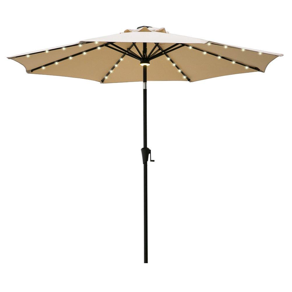 FLAME&SHADE 9ft Patio Umbrella, LED Outdoor Market Parasol Crank Lift, Push Button Tilt, Beige