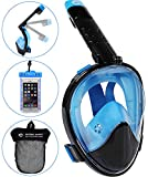 HELLOYEE Full Face Snorkel Mask- 180° Panoramic Foldable Design for Adults and Kids