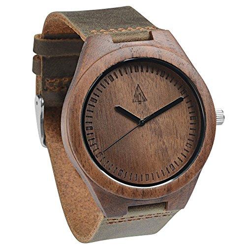 Treehut Men's Chocolate Walnut Wooden Watch with Genuine Brown Leather Strap - Men Hut
